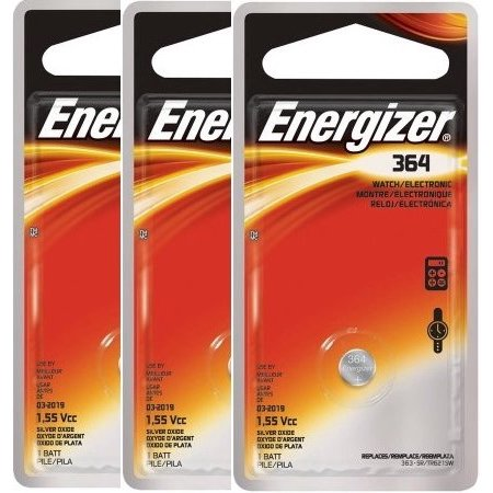 (3 Pack) Energizer Watch Battery, Size 364, 1 Pack ()