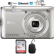 Nikon Coolpix A300 20.1MP 8x Optical Zoom NIKKOR WiFi Silver Digital Camera  (Renewed) with 16GB Bundle