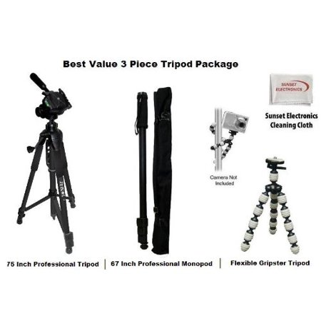 3 Piece Best Value Tripod Package For The JVC GR-DX97 GR-DX28 GR-D230, GC-S1 GR-DVM1 DVM5 DVM76, Everio GZ-MS100, GZ-HD6 GZ-HD5, GR-DVL720 DVL725 DVL800 Camcorders Includes 1 professional 75 Inch