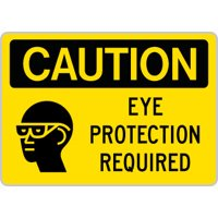 "OSHA Sign : Caution - Eye Protection Required SYM EYE/HEAD : Size = 7"" x 10"""