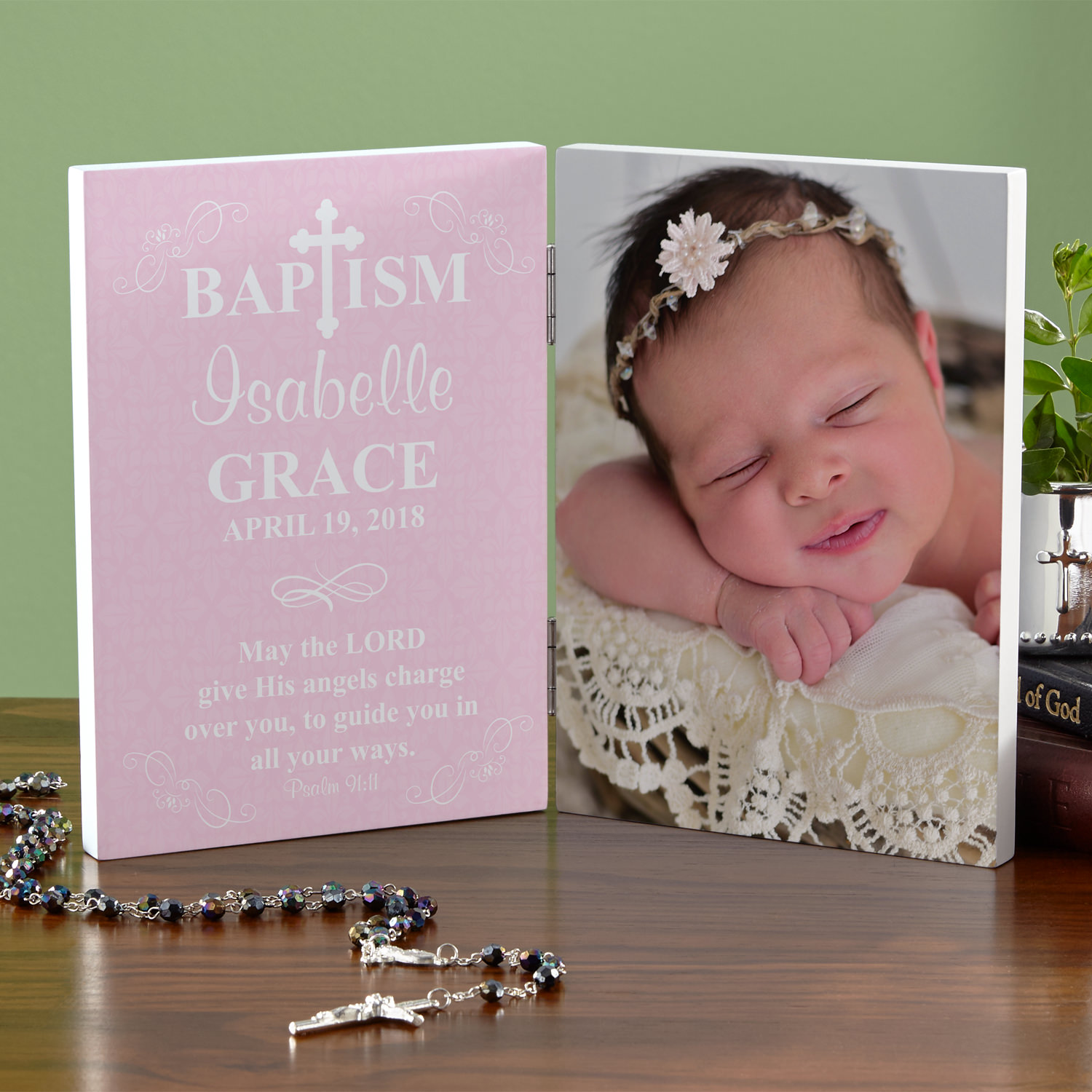 Personalized Baptism Photo Panel - Blue or Pink