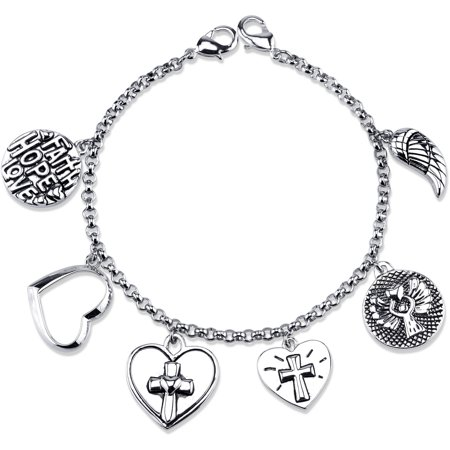 Stainless Steel Faith, Heart, and Cross Charm Link Bracelet