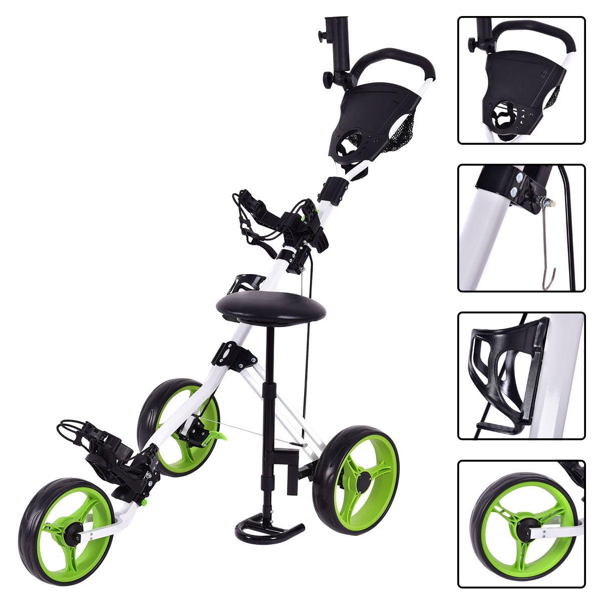 Costway Foldable 3 Wheel Push Pull Golf Club Cart Trolley w Seat Scoreboard Bag Swivel by Costway