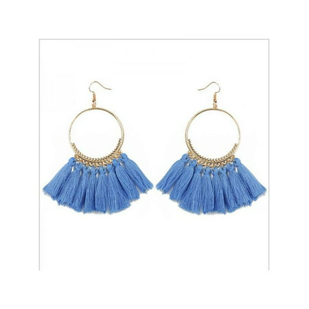 Nicesee Boho Round Circle Tassel Drop Earrings For - Bamboo White Earrings