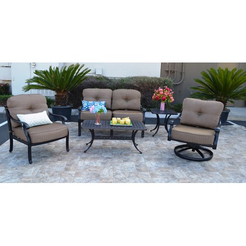 Darby Home Co Nola 5 Piece Deep Seating Group with Cushion