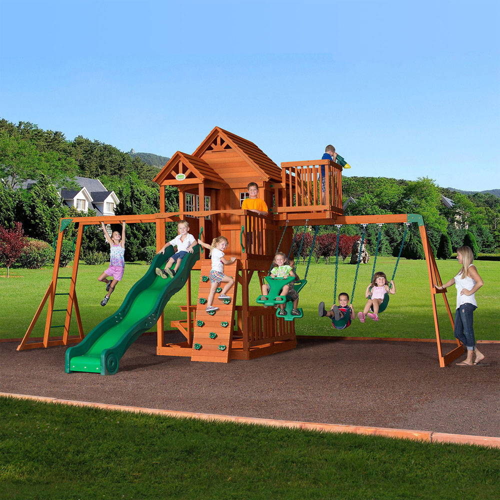 Backyard Discovery Sky Fort Wooden Swing Set