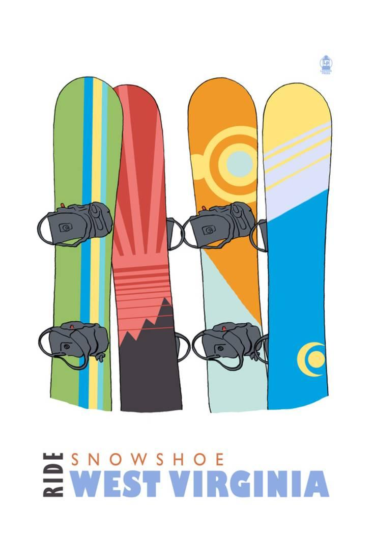 Snowshoe, West Virginia Snowboards in Snow Print By Lantern Press by Art.com