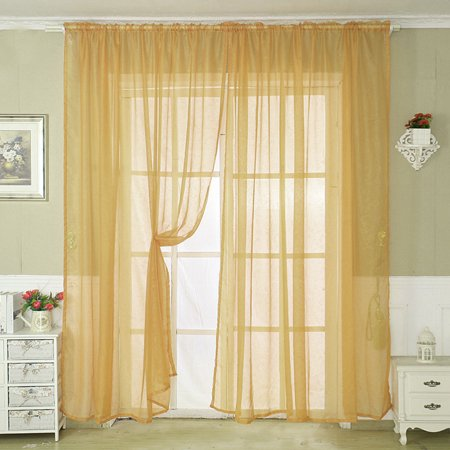 Home Dark Yellow Voile Sheer Curtain Panel Drapes for ...
