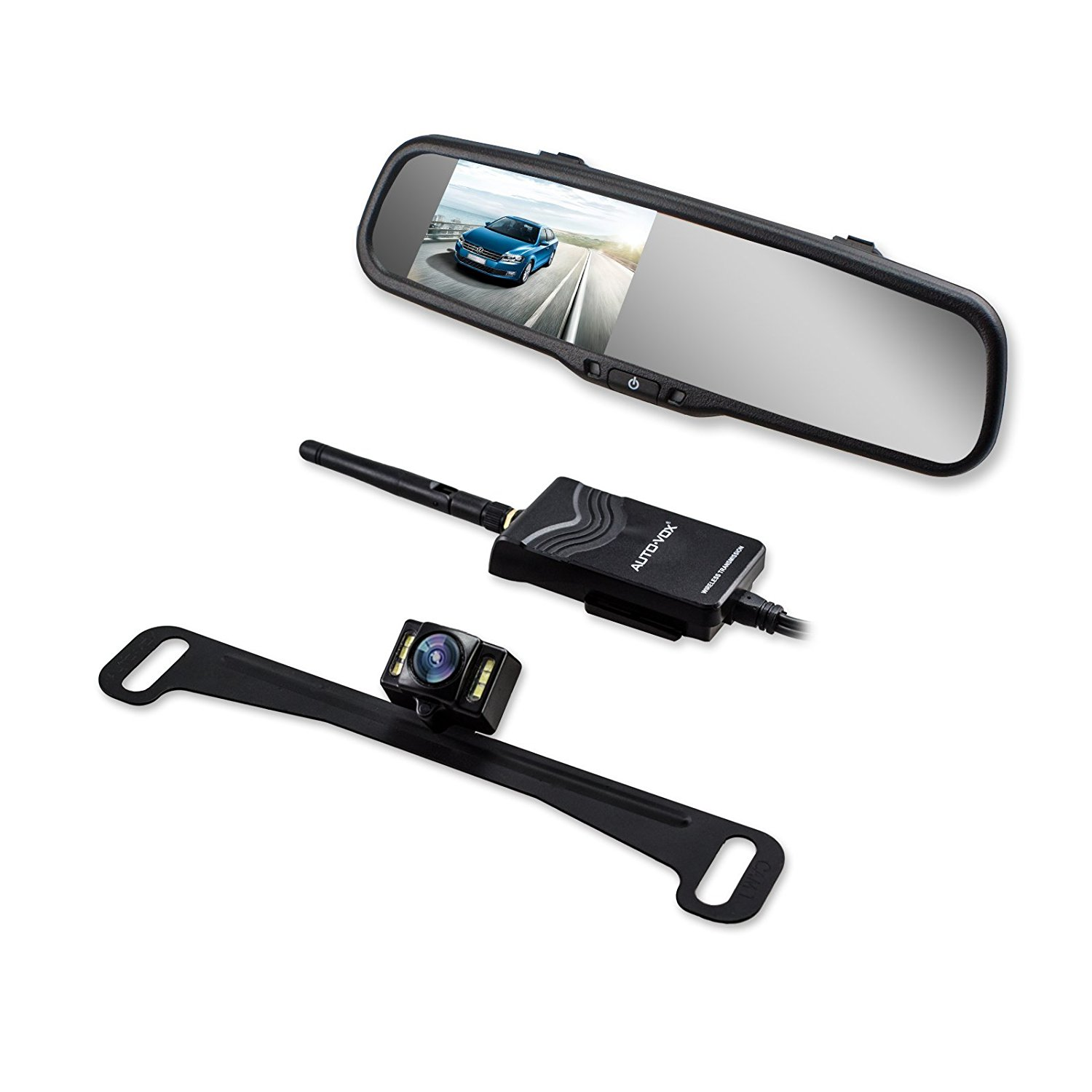 AUTOVOX 4.3 Inch Car Rear View Mirror Auto Reverse On Parking Monitor +  Wireless Backup Camera LED Night Vision License Plate Camera Car Charger Easy install