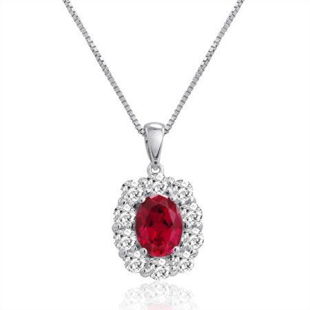 Sterling Silver Created Ruby And White Sapphire Pendant Necklace   3Ct Tw