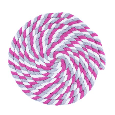 WCP 1/2 Inch Thick Super Soft Artisan Decorative Twisted 100% Cotton Rope - White, Gray, Pink