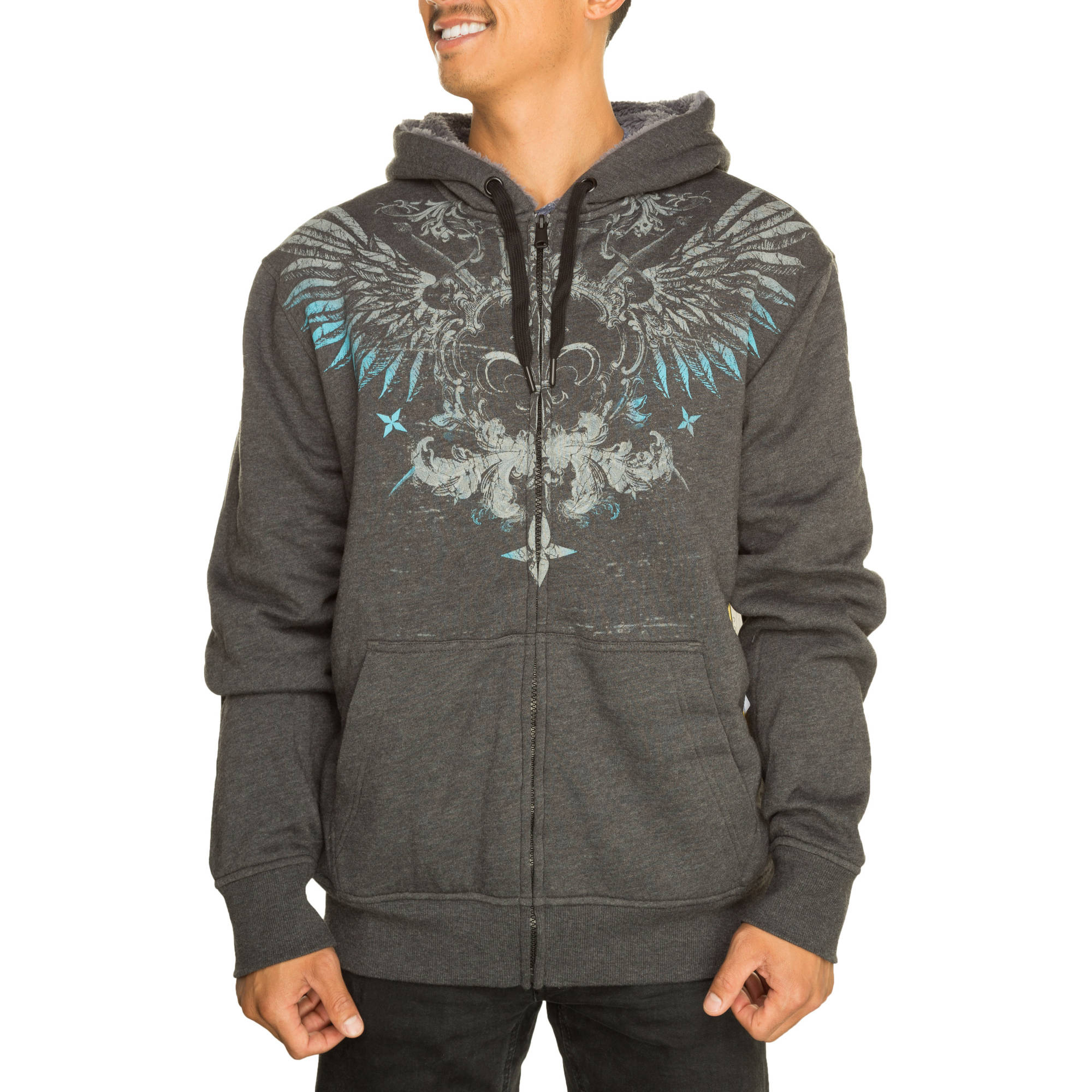 Faded Glory Men's Black Wings Sherpa Hoodie