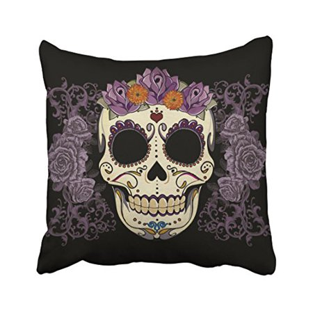 WinHome Halloween Vintage Skull And Roses Pillow Covers Cushion Cover Case 18x18 Inches Pillowcases Two Side