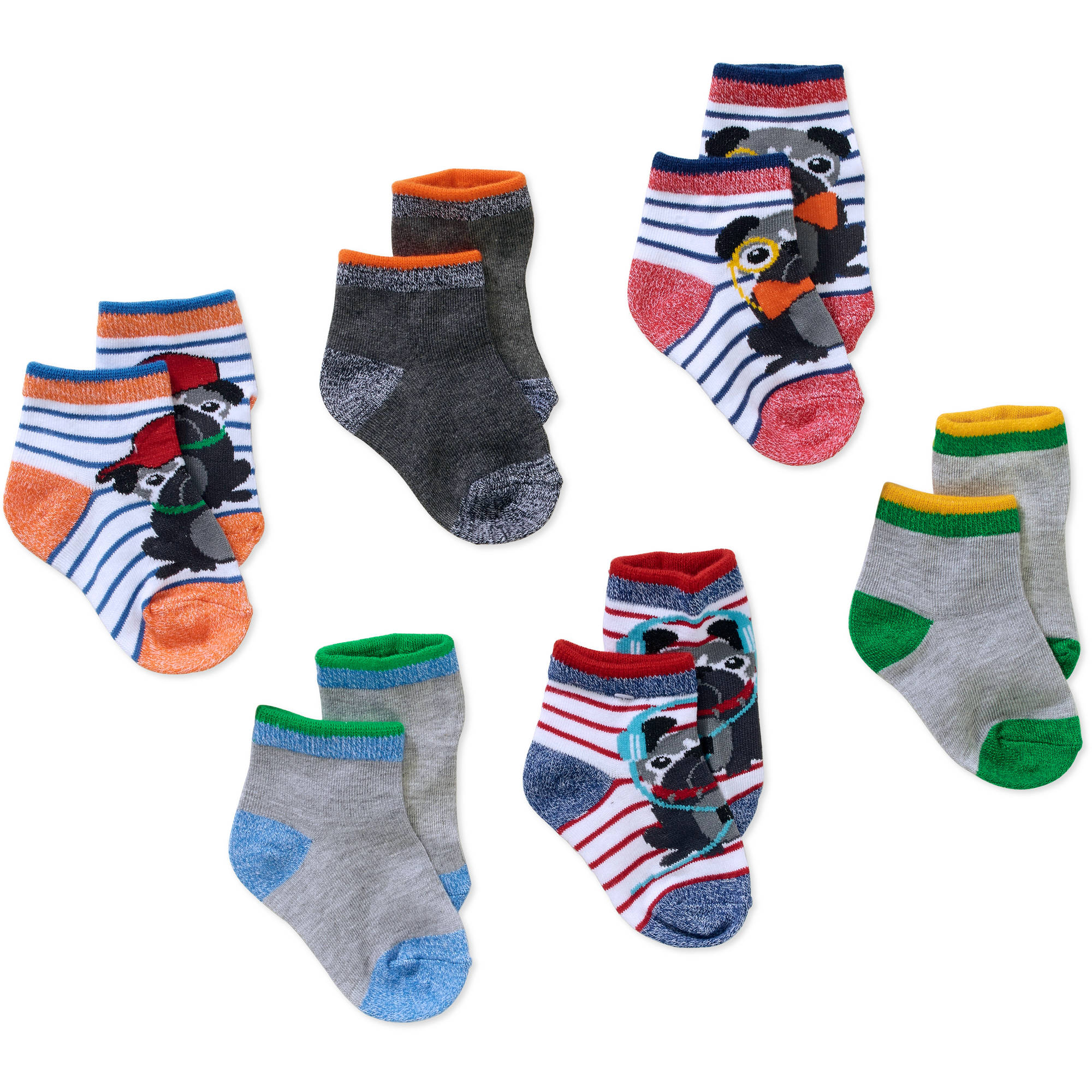 Garanimals Newborn to Toddler Baby Boy Shorty Marled Dog Print Socks, 6-Pack Ages 0-5T