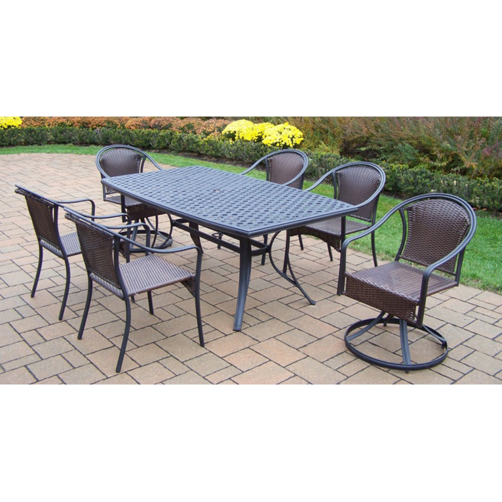 Oakland Living Cascade 7 Piece Patio Dining Room Set with Boat Shape Table by Oakland Living Corp