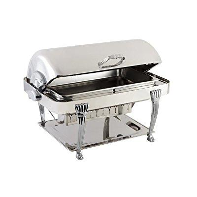 Bon Chef 12040CH Elite Series Stainless Steel Rectangular Chafing Dish with Aurora Legs, Chrome Trim Finish, 2 gal Capacity