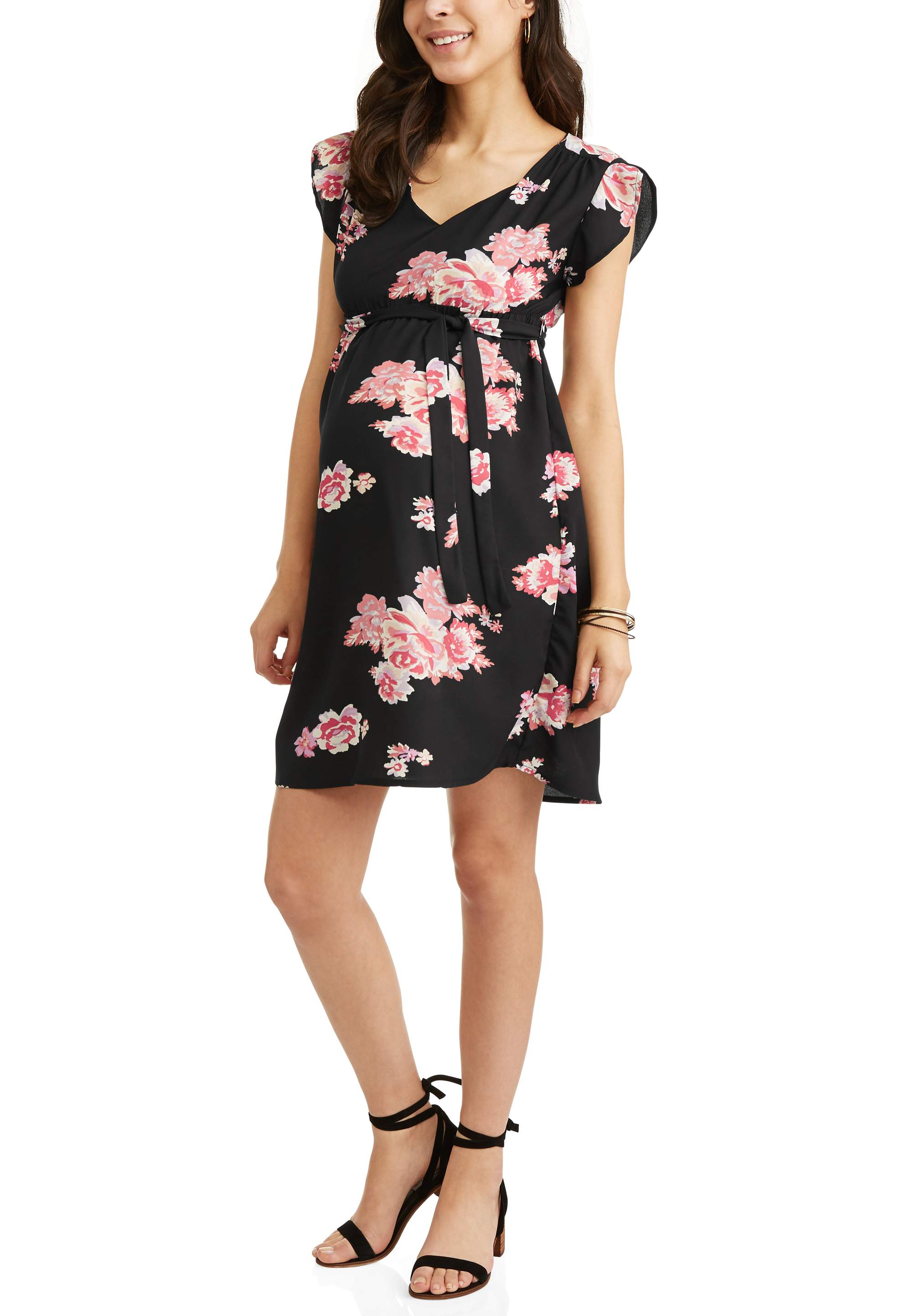 Maternity Floral Tie Front Dress - Available in Plus Sizes