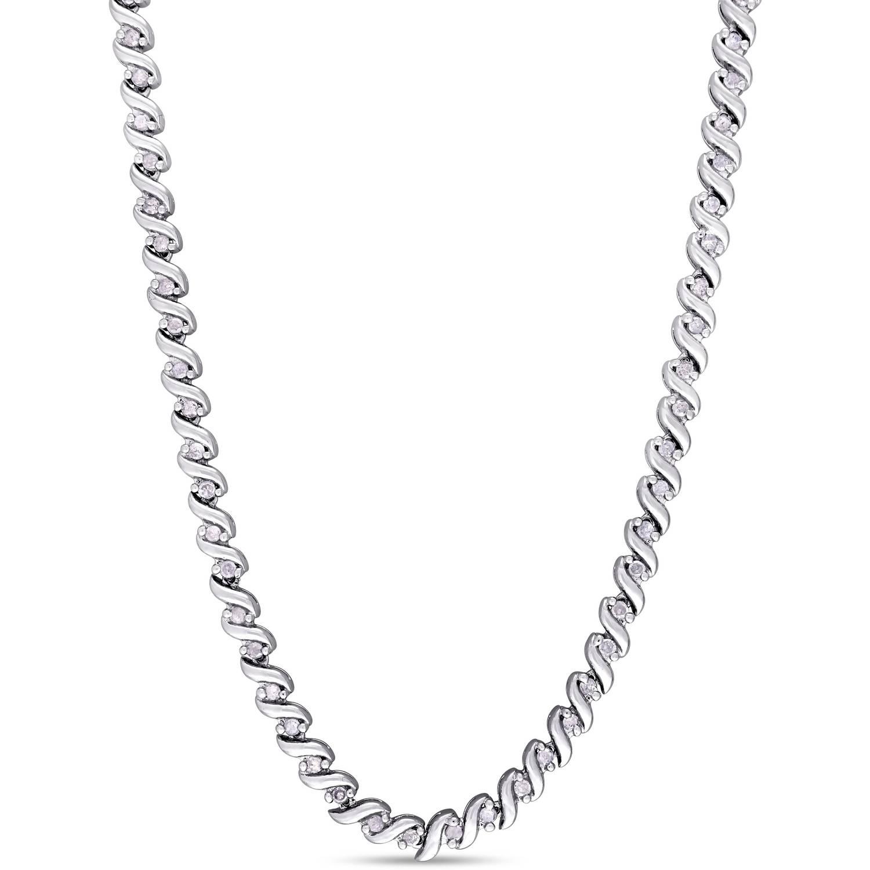 """Miabella 1 Carat T.W. Diamond Sterling Silver Tennis Necklace, 17"""" by Miabella"""