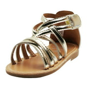Stepping Stones Little Girls Gladiator Gold Sandals Girls Strappy Sandals For Casual or Dress Size 5 Metallic Open Toe Summer Sandals Shiny Infant Toddler Kids Shoes for Children