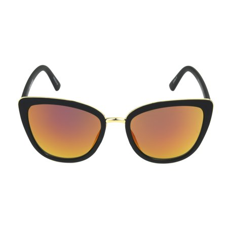 Foster Grant Women's Black Mirrored Cat-Eye Sunglasses N03