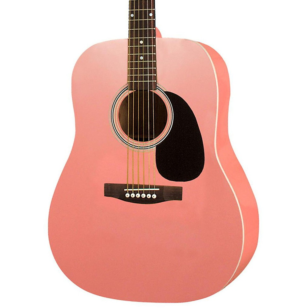 Rogue RA-100D Dreadnought Acoustic Guitar Pink by Rogue