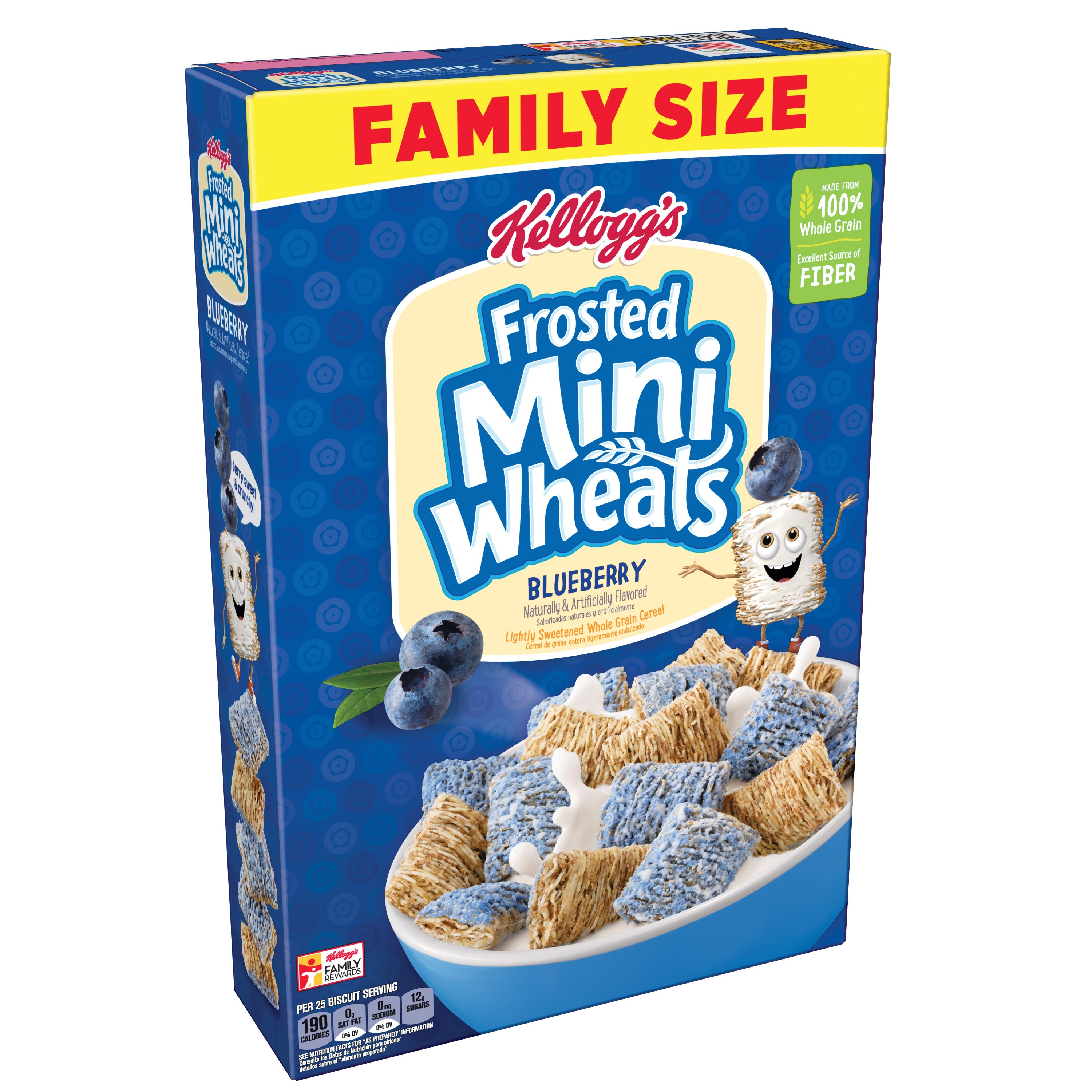 (2 Pack) Kellogg's Frosted Mini Wheats Breakfast Cereal, Blueberry, 21 Oz