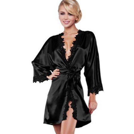 Womens Lace Satin Kimono Sleepwear Nightdress Luxury Lingerie Dressing Gown Robe - Renaissance Robes