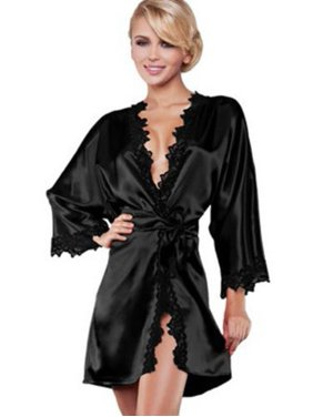 64db5e92945 Product Image Womens Lace Satin Kimono Sleepwear Nightdress Luxury Lingerie  Dressing Gown Robe