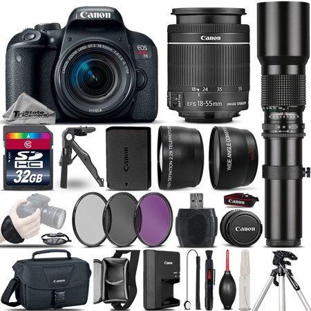 Canon EOS Rebel T7i DSLR Camera 800D + 18-55mm IS + 500mm 4 Lens Kit - 32GB Kit
