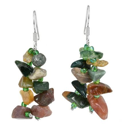 Sweet Cluster of Jasper Stone and Green Beads Dangle Earrings