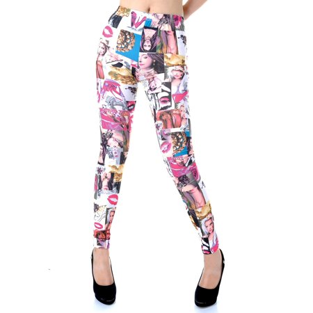 - Womens Multicolor Fashion Magazine Makeup Collage Print Tights Legg...