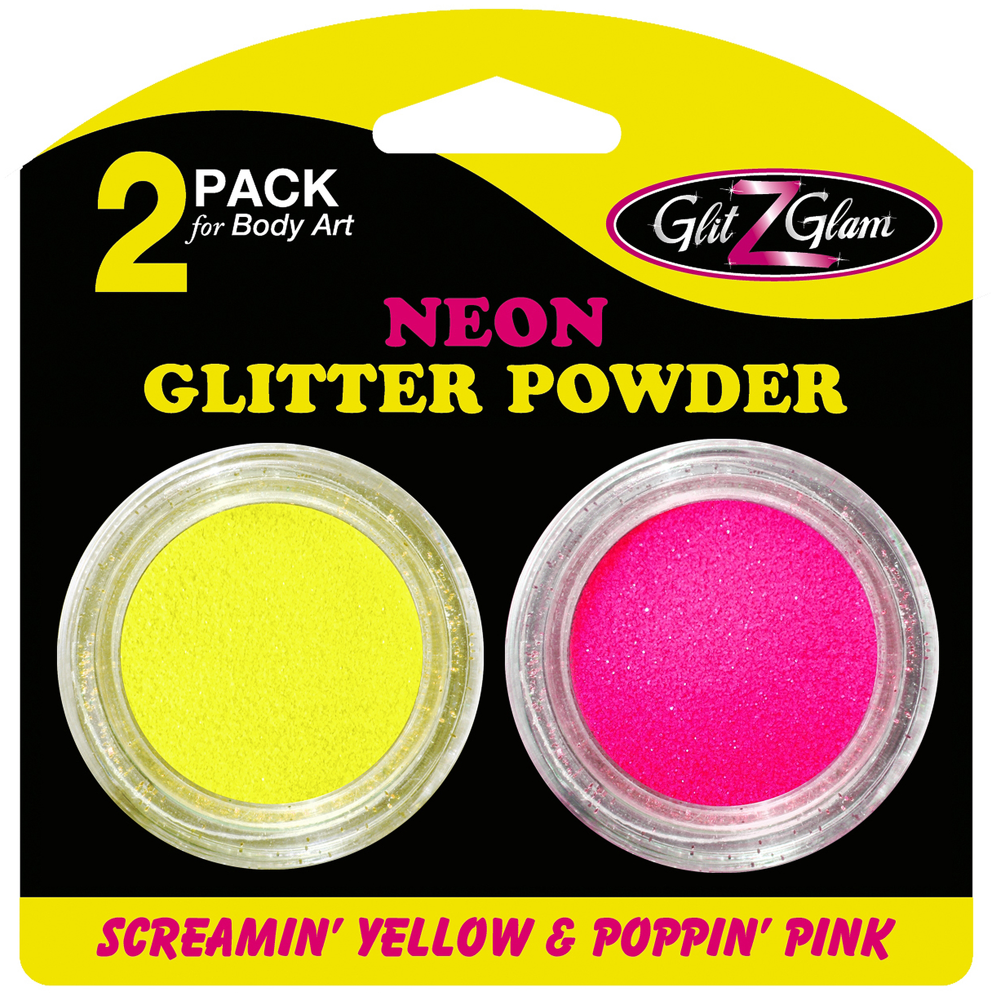 GlitZGlam Glitter Neon Poppin' Pink and Screamin' Yellow for Glitter Tattoos and Body Art, 2pk