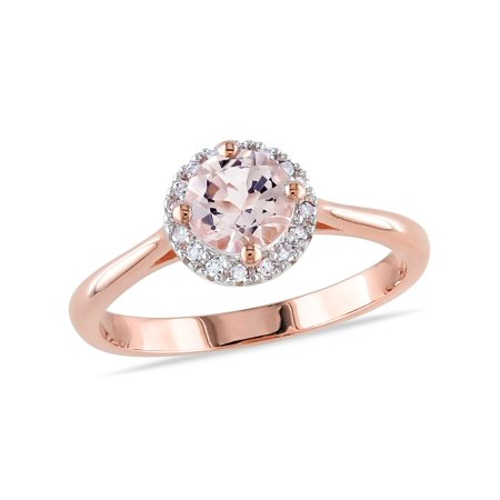 4/5 Carat (ctw) Morganite Halo Ring in Rose Pink Sterling Silver with 1/10 Carat (ctw) Diamonds - image 4 de 4