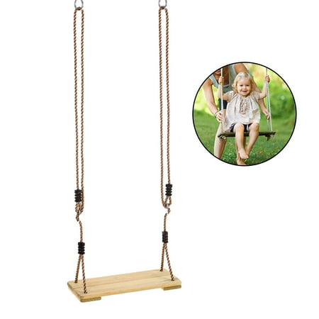 Outdoor Adult Tree Swing Seat Kids Trapeze Chair Wooden Hanging Swing Seat Playground Backyard Swing with Rope ()