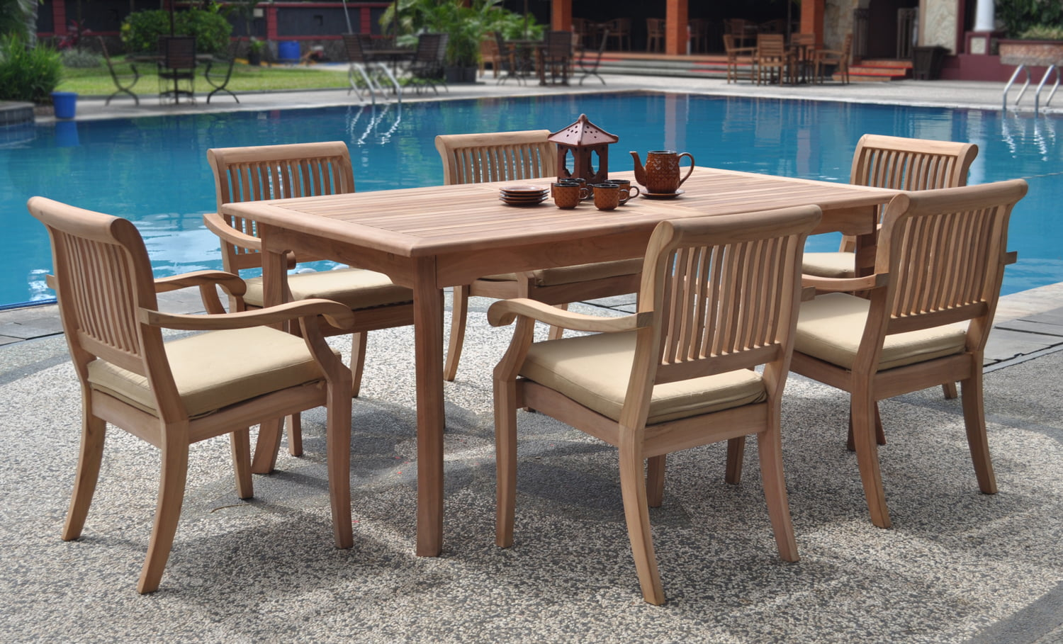 """Teak Dining Room Set:6 Seater 7 Pc 71"""" Rectangle Table and 6 Stacking Arbor Armchairs Outdoor Patio... by WholesaleTeak"""