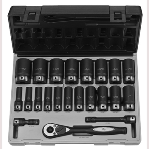 "Grey Pneumatic 82222D 1/2"" Dr. 22pc Fractional Deep Duo-Socket Set - 12 Point"
