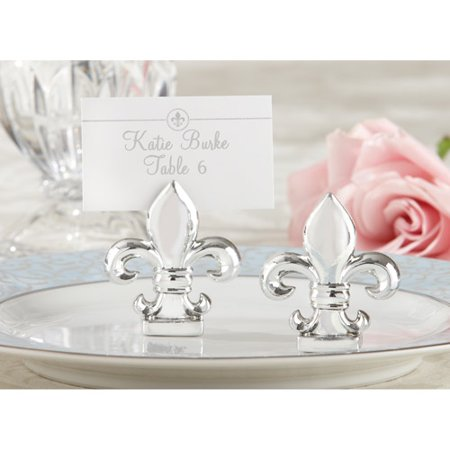 Fleur De Lis Silver Place Card Holder 4 Pack