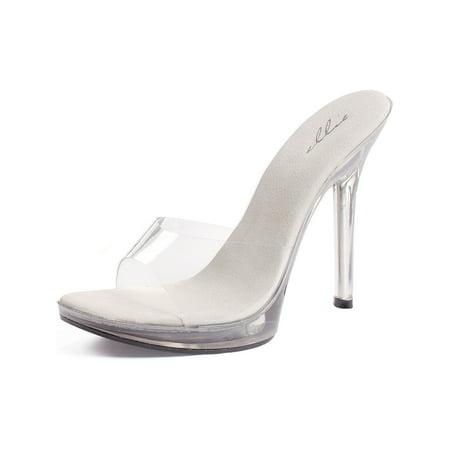 Mini Platform Slide 5 Inch Heel Clear Mule Women's Sexy Shoes ()