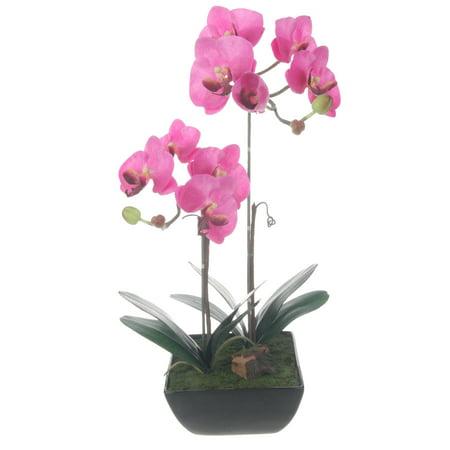 Red Vanilla Lavender Artificial Silk Phalaenopsis Orchids Centerpiece in Black Ceramic Base - Lavender Centerpieces