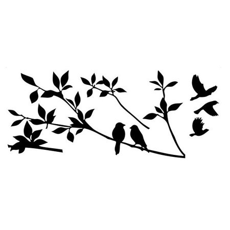 Removable PVC Branch Bird Sticker Wall Art For Bedroom Living Room Home Background Decoration 60 x 24 (Branch Wall Decoration)