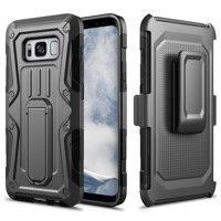 Galaxy S8 Case, Rugged Impact Armor Hybrid Kickstand Cover with Belt Clip Holster Case for Samsung Galaxy S8 - Black