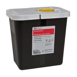 RCRA Waste Container SharpSafety™ 10 H X 7.25 D X 10.5 W Inch 2 Gallon Black Base White Lid Vertical Entry Hinged Lid Each1