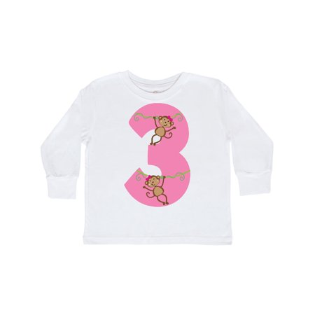 3rd Birthday Monkey Number 3 Toddler Long Sleeve T-Shirt - Long Armed Monkey