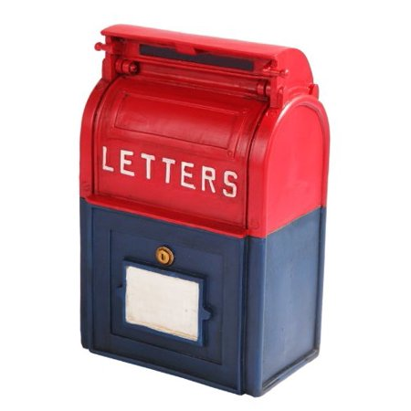 6.25 Inch Resin Mailbox Savings Piggy/Coin/Money Bank, Red and Blue