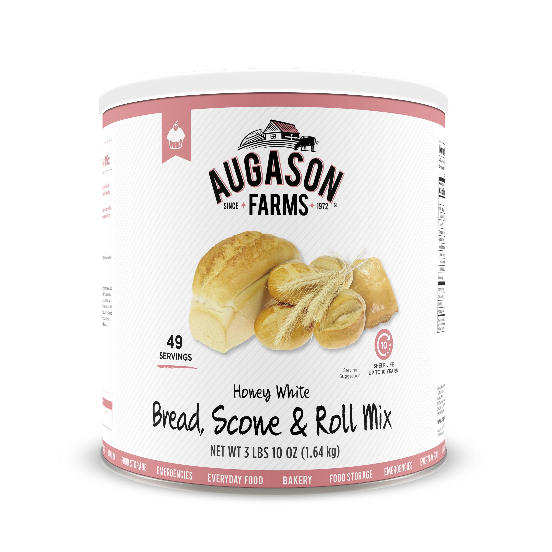 Augason Farms Honey White Bread Scone & Roll Mix 3 lbs 10 oz No. 10 Can