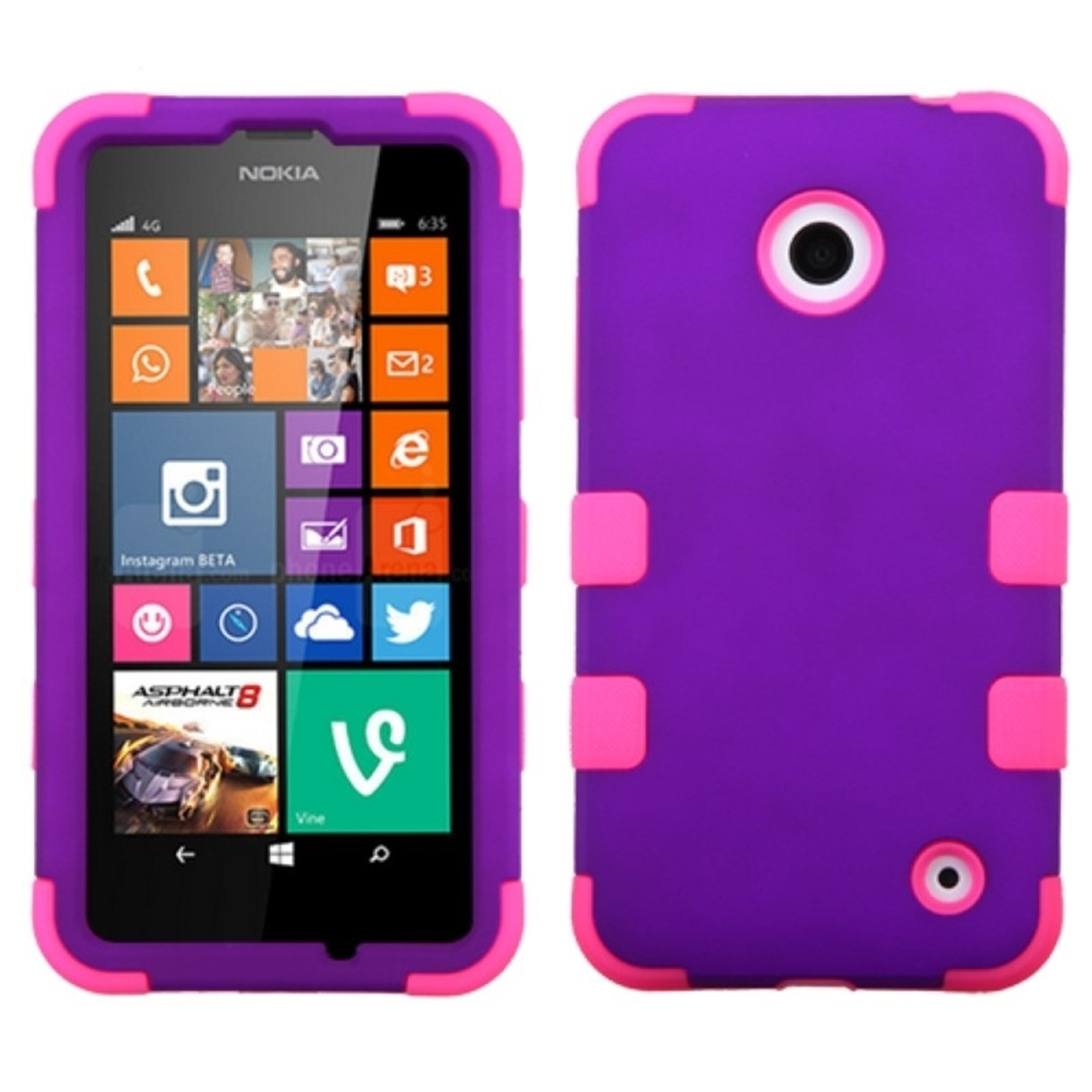 Insten Grape/Pink Colorful TUFF Hybrid Phone Cover Case For Nokia Lumia 630 635