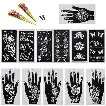 Bundle Monster 14pc Mehndi Henna Tattoo Body Starter Kit 2 Colors
