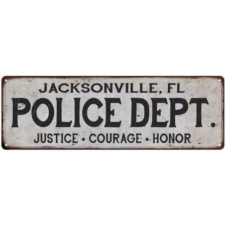 JACKSONVILLE, FL POLICE DEPT. Home Decor Metal Sign Gift 8x24 108240012008 ()