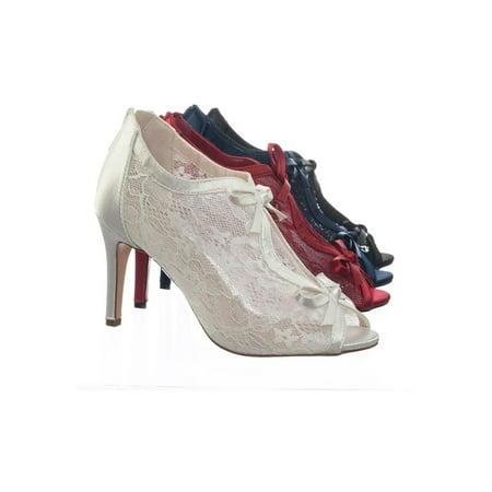 Nina Satin Pumps - Paris17 by Blossom, Satin Floral Lace Bridal Wedding Peep Toe High Heel Dress Pump Sandal