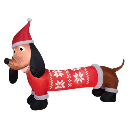 Gemmy 39519 Christmas Airblown Dachshund In Sweater Inflatable, Fabric, 24-1/4
